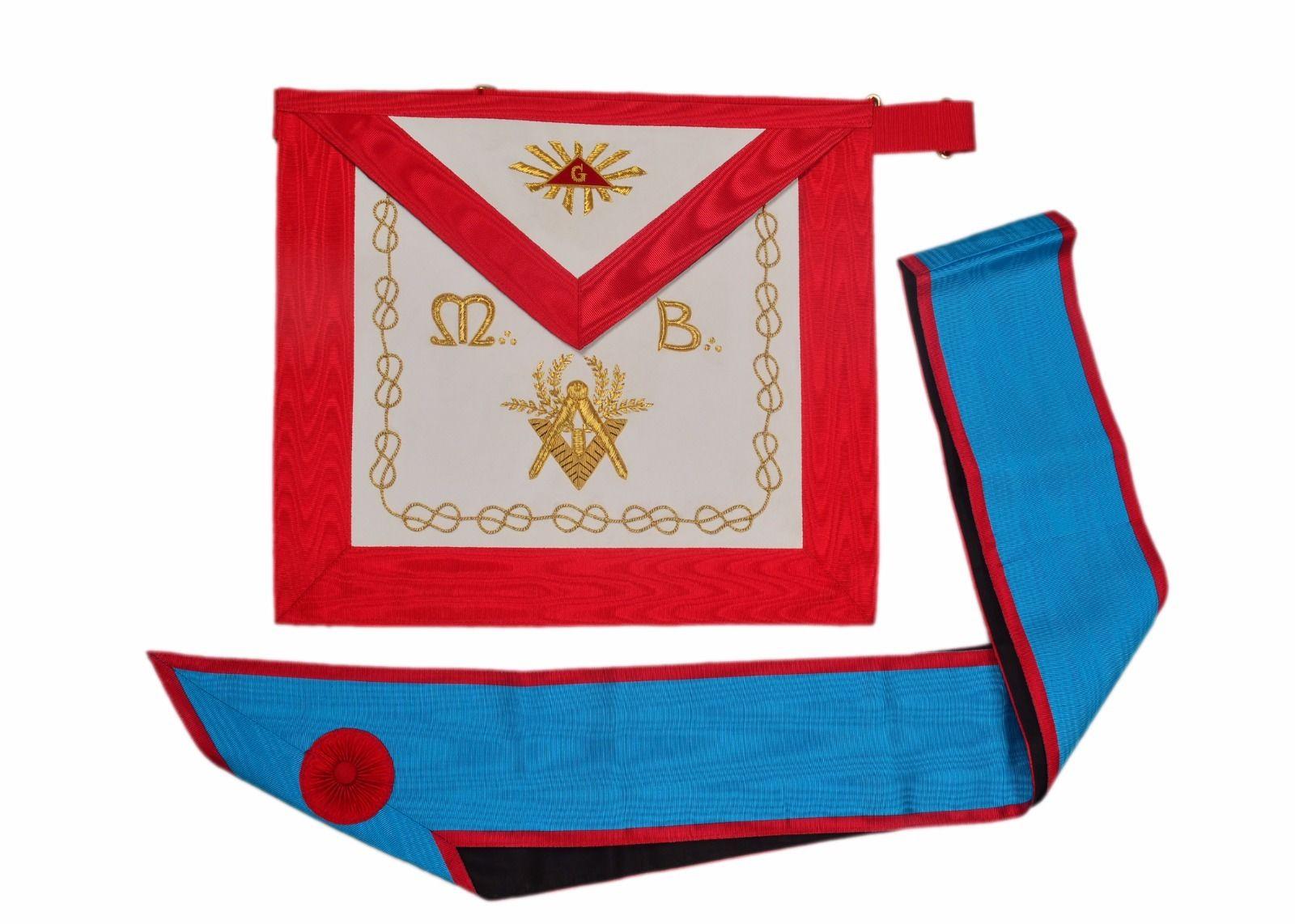 Masonic Regalia Worshipful Master Mason Apron Sash With Hand