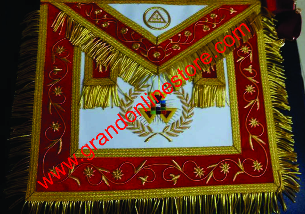Masonic Regalia Royal Arch Apron Hand Embroidered with Golden Bullion Wire